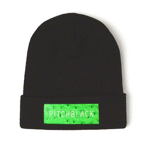 LEATHER PATCH BEANIE (green)