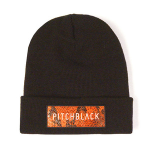LEATHER PATCH BEANIE (orange)