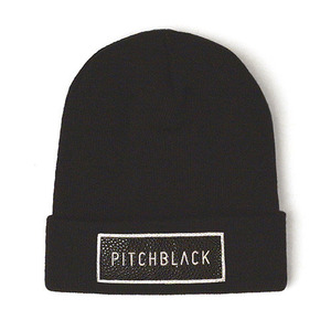 LEATHER PATCH BEANIE (black)
